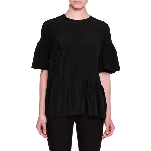 STELLA MCCARTNEY Short-Sleeve Ruffled Silk Top, Black