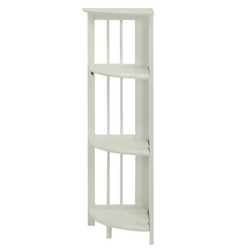 Mission 4-shelf Corner Folding Wood Bookcase [Finish : White Finish]