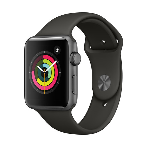 Apple Watch Series 3 with Silver Aluminum Case, 42mm - Space Gray Sport Band