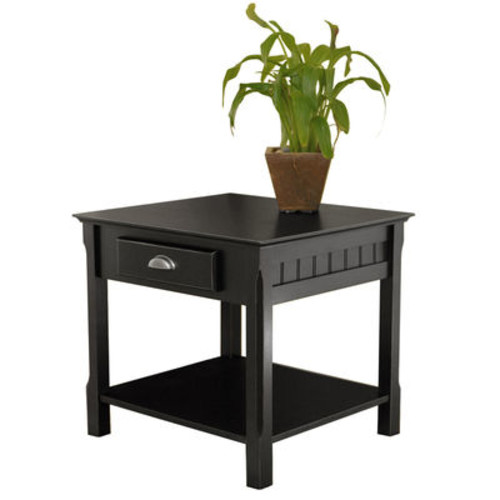 Winsome Wood Timber End Table with one Drawer and Shelf