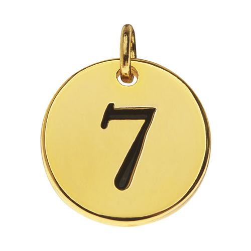 Lead-Free Pewter, Round Number Charm '7' 13mm, 1 Piece, Gold Plated