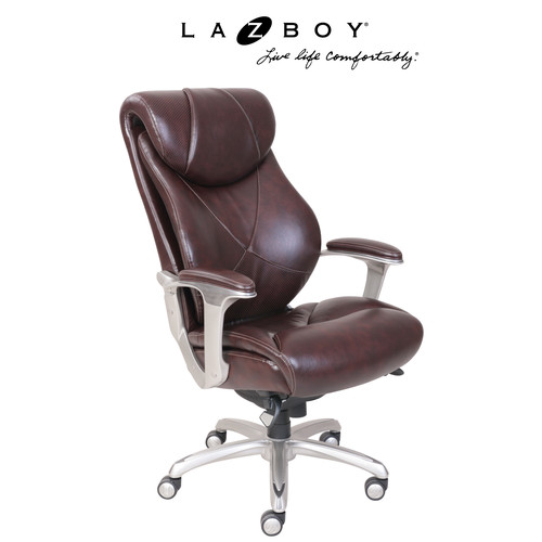 La-Z-Boy Cantania Comfort Core Innovations Air Technology Executive Office Chair-Coffee Brown