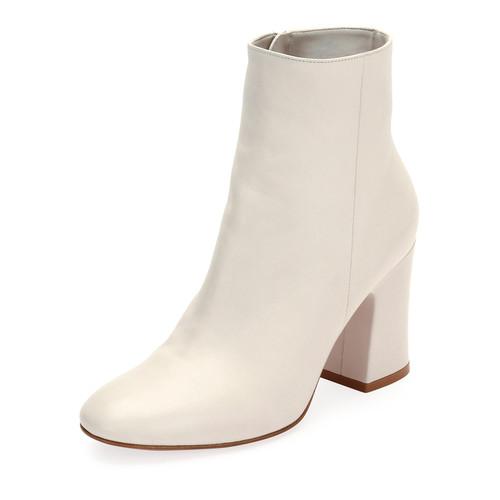 GIANVITO ROSSI Napa Leather Block-Heel Boot, White