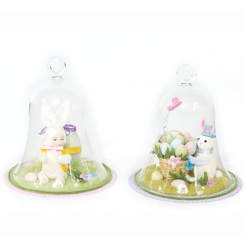Set of 2 Bunny and Easter Egg Glass Dome Springtime Table Top Decorations 5.75