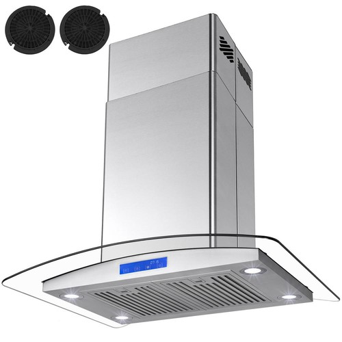 AKDY 36 in. Convertible Kitchen Island Range Hood in Stainless Steel with Tempered Glass LEDs and Carbon Filters