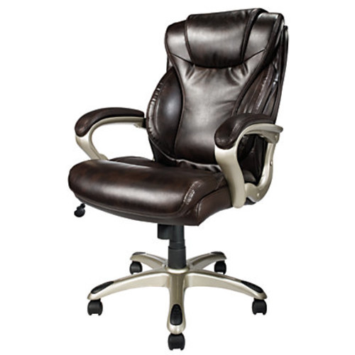 Realspace EC620 Executive High Back Chair, Brown/Silver