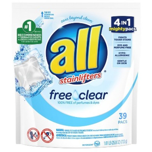 all Mighty Pacs Free Clear Laundry Detergent, 45ct
