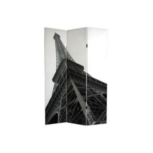 Oriental Furniture Double Sided Eiffel Tower Canvas Room Divider