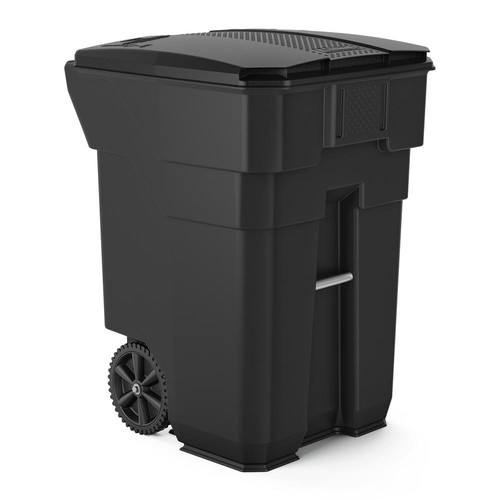 Suncast Commercial 96 Gal. Gray Plastic Curbside Commercial Trash Can With Wheels And Attached Lid