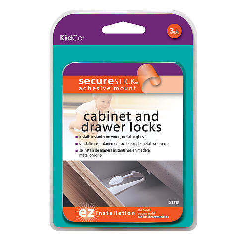 KidCo Adhesive Mount Cabinet and Drawer Lock - 3 Pack