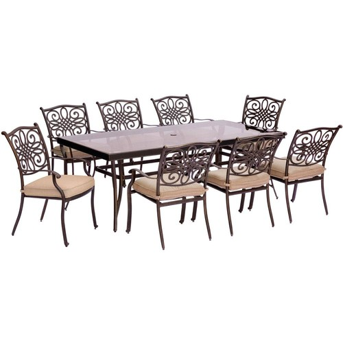 Hanover Traditions 9-Piece Aluminum Outdoor Dining Set with Rectangular Glass-Top Table with Natural Oat Cushions