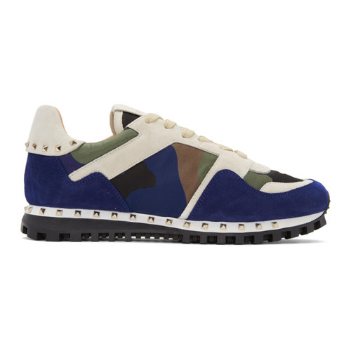 VALENTINO White & Blue  Garavani Camo Rockstud Sneakers