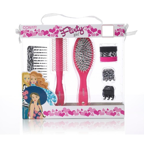 Conair Flirty Girl's Brush Comb & Hair Accessory set 16 Ct.
