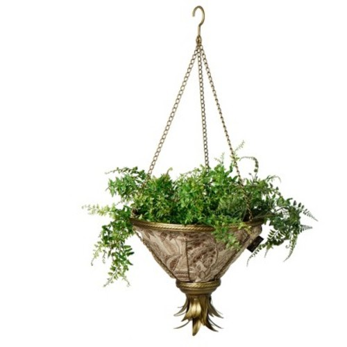 Sierra Hanging Fabric Planter With Palmetto Mocha Liner - Gold - Bombay Outdoors
