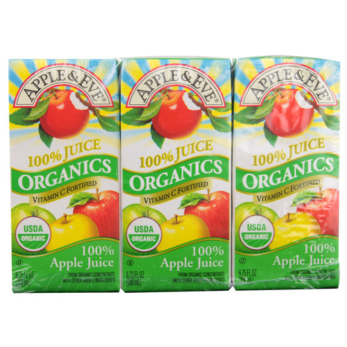 Apple And Eve Organic Apple Juice -- 3 Boxes