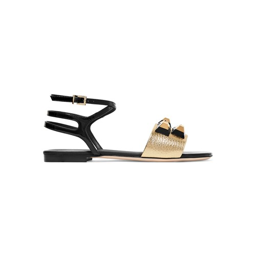Rainbow embellished metallic and patent-leather sandals
