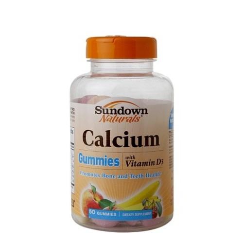 Sundown Naturals Calcium Plus Vitamin-D3 Dietary Supplement Gluten-Free Gummies, Fruit, 9.6oz, 50 Count