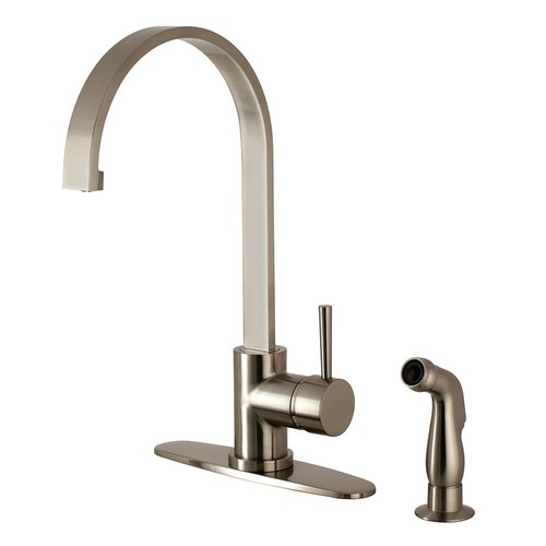 Kingston Brass Concord Single-Handle Standard Kitchen Faucet with Side Sprayer in Satin Nickel