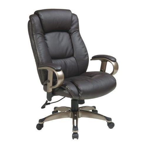 Office Star Executive Eco Leather Chair with Padded Height Adjustable Arms and Coated Base, Espresso [Espresso]