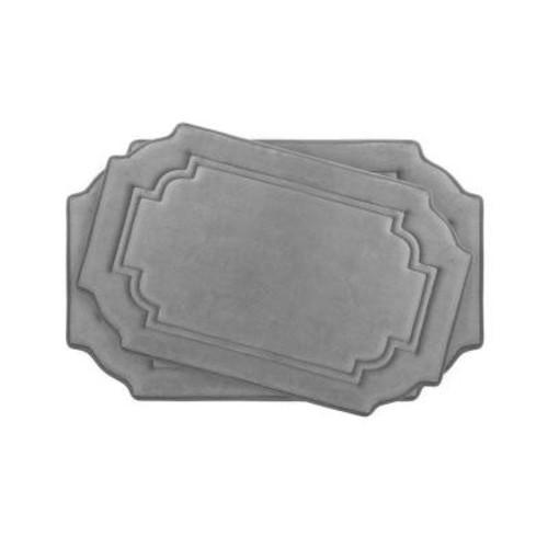 BounceComfort Calypso Light Gray Memory Foam 2-Piece Bath Mat Set
