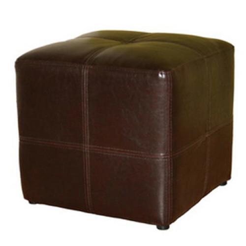Baxton Studio Metra Bonded Leather Ottoman - Dark Espresso Brown