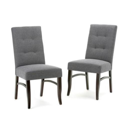 Simpli Home Ezra Slate Grey Fabric Dining Chair (Set of 2)