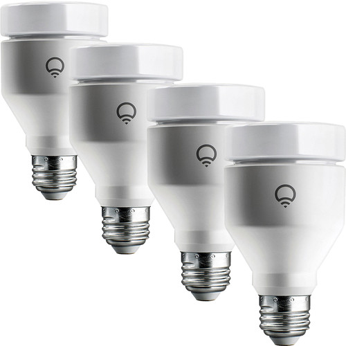 LIFX - 4-Pack of 1100-Lumen, 11W Dimmable A19 LED Light Bulbs - Multicolor