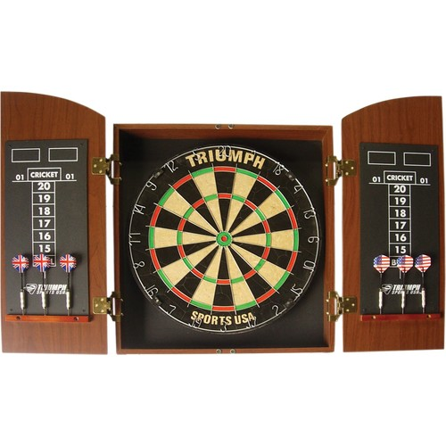 Triumph Wellington Bristle Dartboard and Cabinet Set