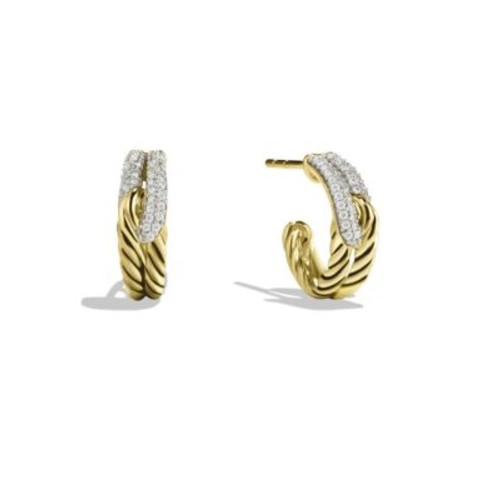 Labyrinth Single-Loop Earrings with Diamonds in G