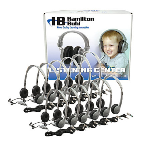 HamiltonBuhl MS2LV Personal On Ear Headphones Lab Pack, Silver/Black, Pack Of 12