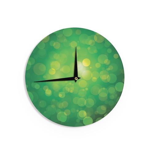 KESS InHouse KESS Original 'Radioactive' Green Bokeh Wall Clock