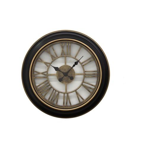 THREE HANDS Black Wall Clock