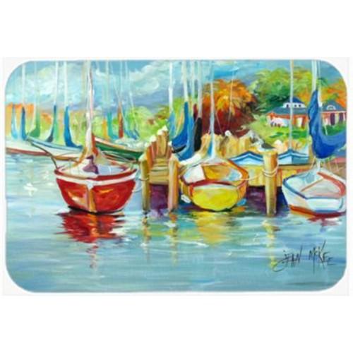 Caroline's Treasures On the Dock Sailboat Glass Cutting Board