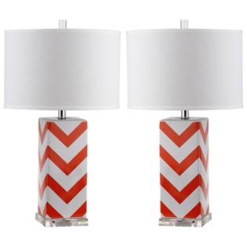 Safavieh Lighting 27-inch Orange Chevron Stripe Table Lamp (Set of 2)