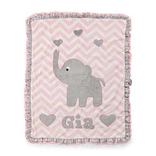 Personalized Big Foot Elephant Plush Blanket, Pink