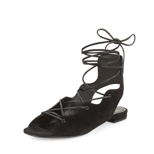 SAINT LAURENT Suede Lace-Up Flat Sandal, Black