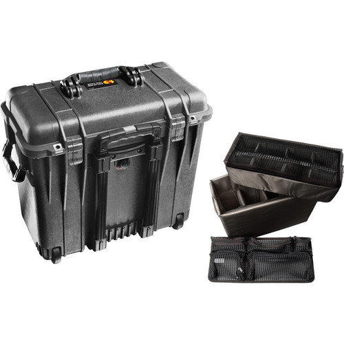 1440 Wheeled Top Loader Case with Utility Padded Divider Set and Lid Organizer (Black)