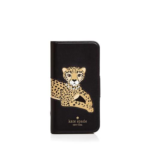 Cheetah Appliqu Folio Leather iPhone 7/8 Case