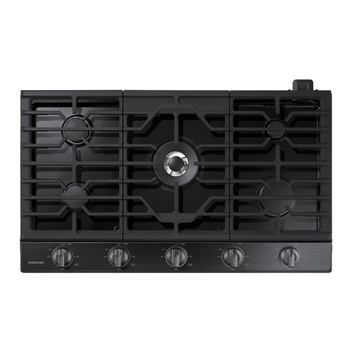 Samsung 36 in. Gas Cooktop in Black Stainless Steel with 5 Burners including Power Burner with WiFi