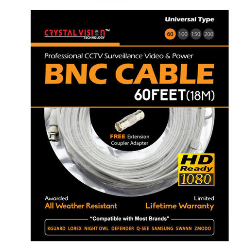 Crystal Vision Premium 1080p HD Ready BNC Video Power Extension Cable Compatible w/ All Brands Surveillance Camera System CCTV