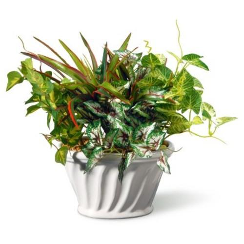 Artificial Table Plant in Ceramic Pot Green 11