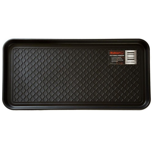 Stalwart Black 15 in. x 30 in. Eco-Friendly Polypropylene Utility Boot Tray Mat
