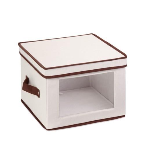 Honey-Can-Do Canvas Dinnerware Storage Box, Small, 8