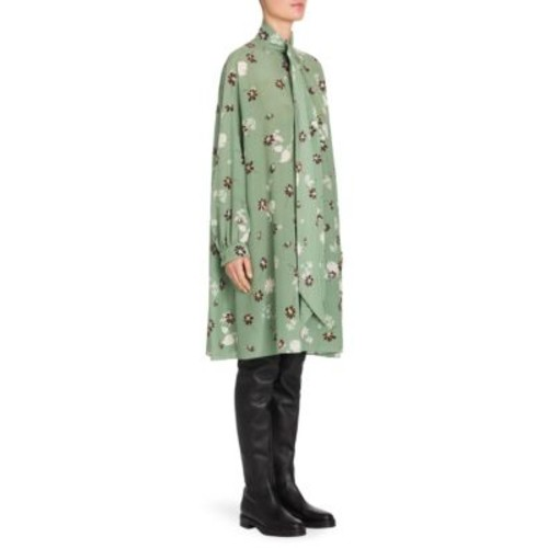 VALENTINO Flowers Fall Silk Tie-Neck Tent Dress