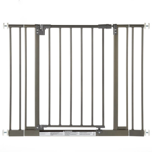 North States Easy-Close Wall Mounted Steel Pet Gate, Gray, 28