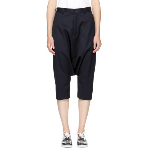 COMME DES GARÇONS GIRL Navy Wool Dropped Trousers