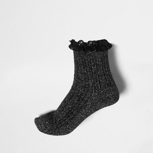 Black lurex stitch frill ankle socks