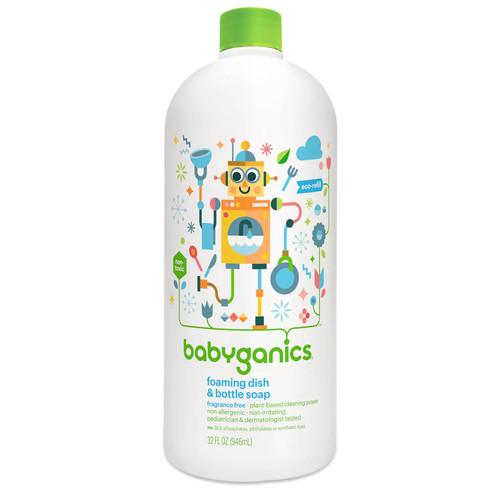 BabyGanics Foaming Dish & Bottle Soap Refill, Fragrance Free, 32 fl oz [Fragrance Free, 32 fl oz]