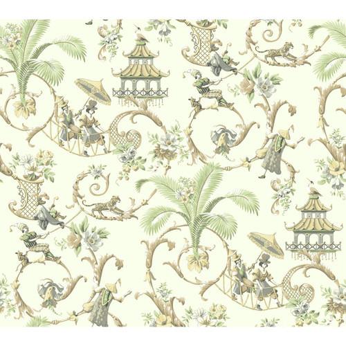 York Wallcoverings Waverly Mandarin Prose 27' x 27'' Scenic Wallpaper