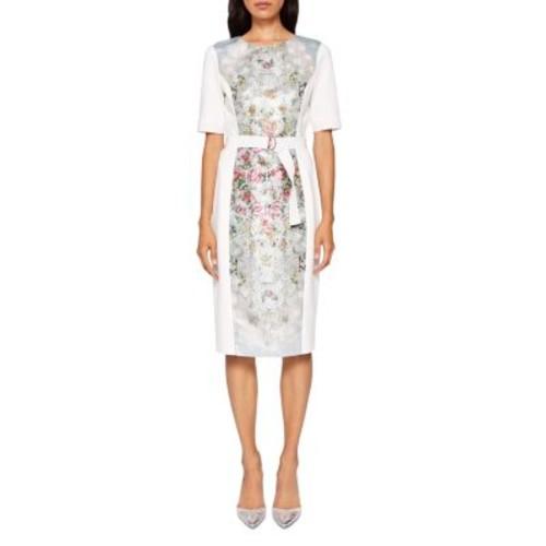 TED BAKER Dorn Patchwork Belted Dress